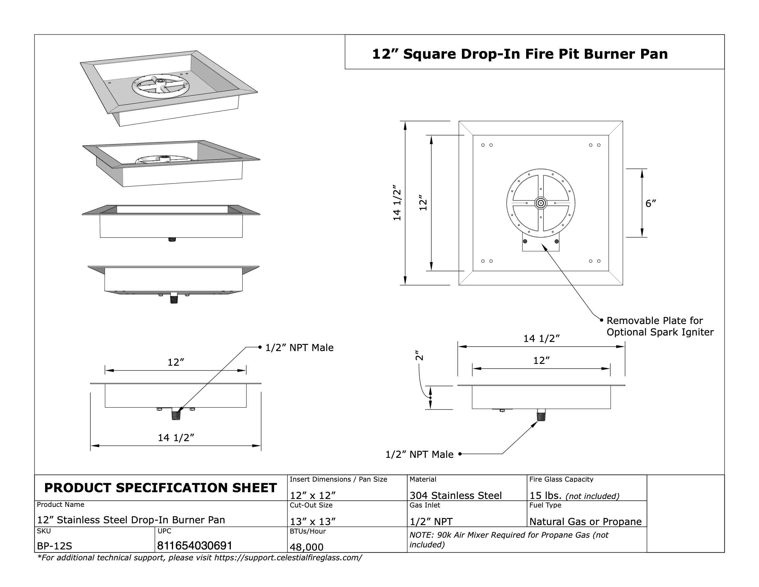 12 Square Stainless Steel Drop In Fire Pit Pan W 6 Burner