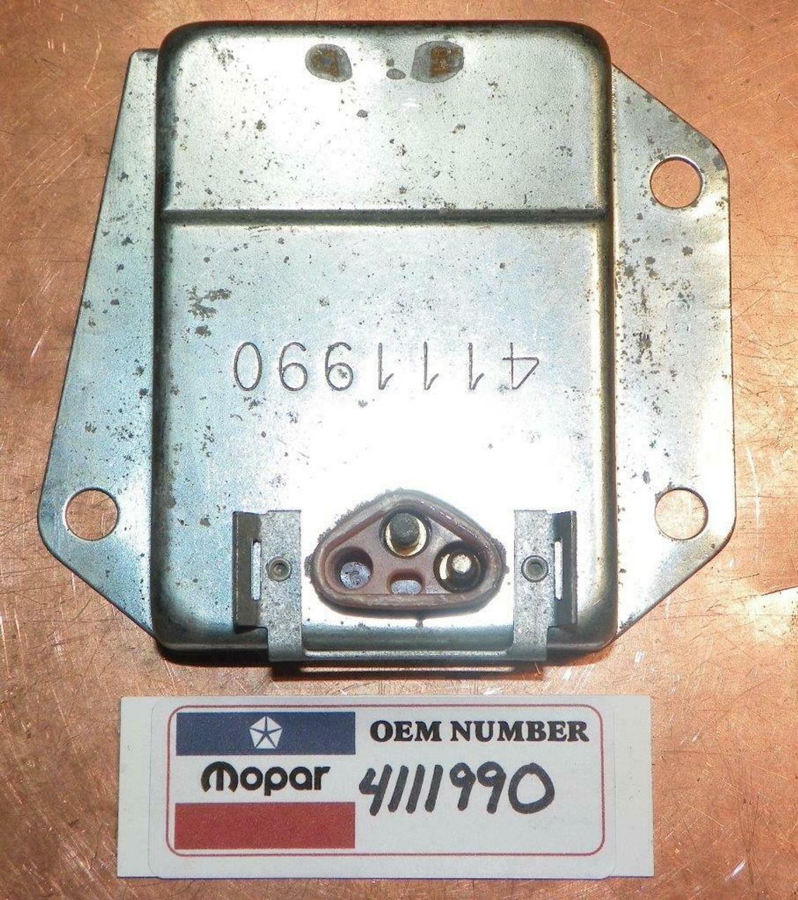 Chrysler Dodge Plymouth 1970-1987 NOS OEM 12V Voltage Regulator P/N 4111990