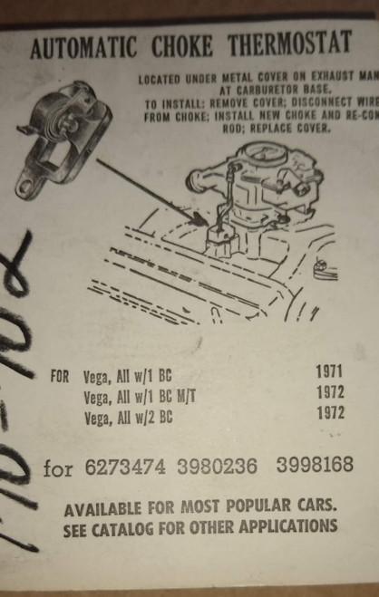 Chevrolet Vega 1971-1972 Automatic Choke thermostat Part No.:  170-702