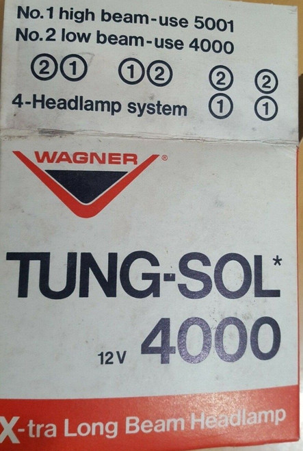 Wagner Tung-Sol Sealed Headlight Part No.:  4000