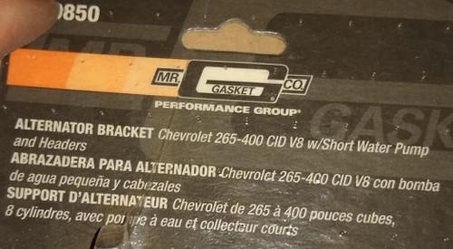 Chevrolet 265-400 CID V8 Alternator Bracket with Short Water Pump and Headers: