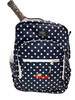 Pickleball Power Polka Dot Fashion Backpack - Will hold multiple Pickleball paddles and gear. Navy Blue w/White Polka Dots