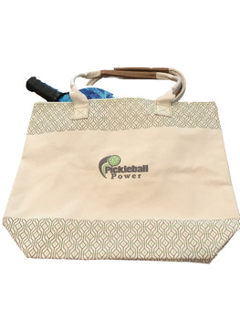 A trendy and premium heavy-duty cotton tote! This zipper-top, multi-purpose tote is perfect for work, travel, leisure and especially PICKLEBALL!