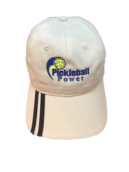 """Lightweight """"Brushed Cotton Twill"""" Pickleball Ball Cap - Stone w/ Double Navy Stripes"""