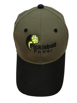 """Brushed Cotton Twill Pickleball Ball Cap - """"Olive"""" with Contrasting Visor in """"Black"""""""