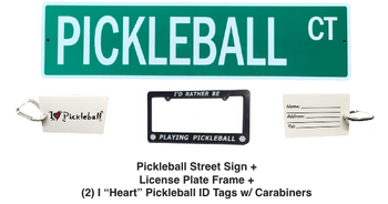 "Pickleball Marketplace - ""Road Warrior"" Bundle - Custom Street Sign & License Plate Frame & (2) ID Tags"