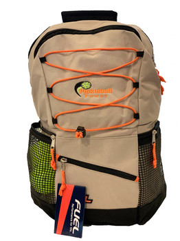"""Pickleball Bungee Backpack """"Colorways"""" - Moon Rock (Tan & Orange) - Will hold multiple Pickleball paddles and sports gear."""
