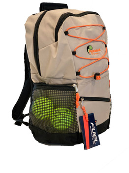 "Bungee Backpack ""Colorways"" - Moon Rock (Tan & Orange) - Will hold multiple Pickleball paddles and sports gear."