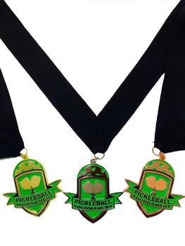 "Pickleball Medals, Set of 3 - Gold, Silver & Bronze - 3"" Pickleball Medal Award with Free V Shaped Ribbon"