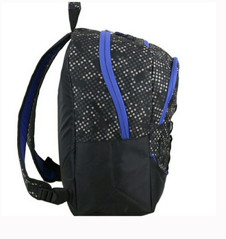 "(Closeout Special) Eastport ""Multi-Purpose"" Backpack - Amazing Storage - Will hold multiple Pickleball paddles and sports gear. Navy & Royal Blue Dots"