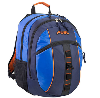 Active Sports Multi-Purpose Backpack - Will hold multiple Pickleball paddles and sports gear. Navy & Royal Blue w/ Orange Trim.