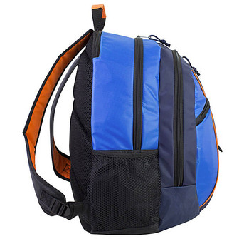 Active Sports Multi-Purpose Backpack - Will hold multiple Pickleball paddles and sports gear. Navy & Royal Blue w/ Orange Trim
