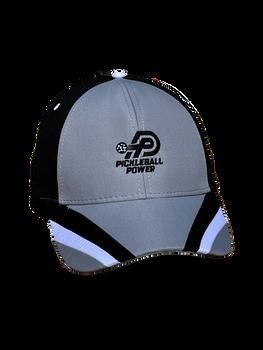 Moisture Wicking & UV Coated Pearl Nylon | Performance Mesh/Light Weight Brushed Cotton Twill Pickleball Cap - Grey/Black/White