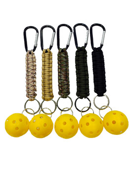 Pickleball Keychain - Paracord Lanyard with Carabiner & Ball - Heavy Duty - Multifunctional - Clips Anywhere