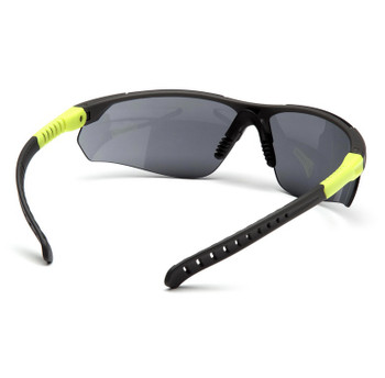 Sitecore Safety Glasses - Gray/Lime Temples - Gray Lens - Meets High Impact Standards - Temples Adjust to Three Different Lengths