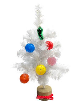"""15"""" White Christmas Tree w/ 5 Small Pickleballs And a Pickle Ornament"""