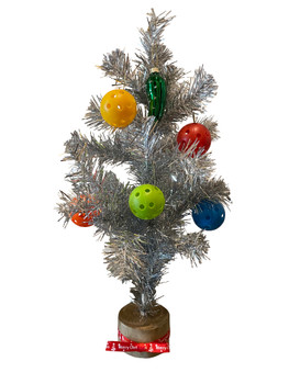 """15"""" Metallic Christmas Tree w/ 5 Small Pickleballs And a Pickle Ornament"""