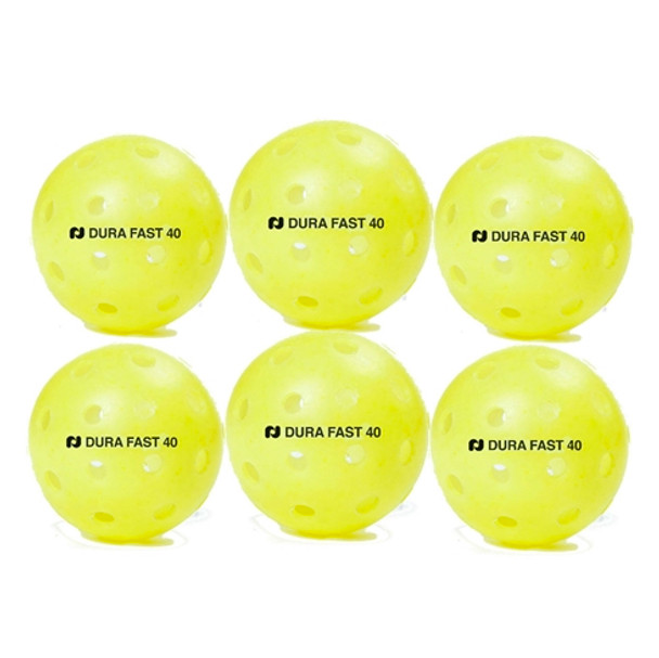 Dura Fast 40 Outdoor Pickleball Balls - 6 pack - Yellow