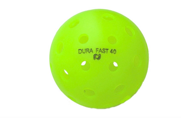 Dura Pickleballs, also known as the Dura Fast 40, are a seamless plastic ball specially designed for Pickleball.