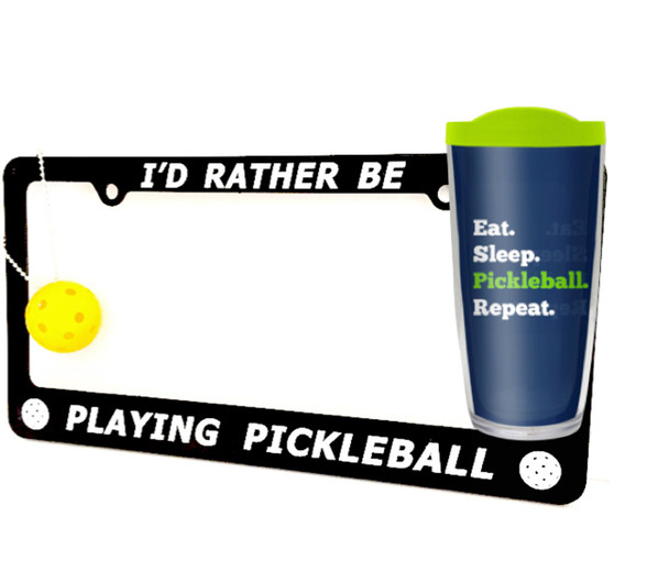 Pickleball License Plate, Keychain & Tumbler Combo - One Low Price