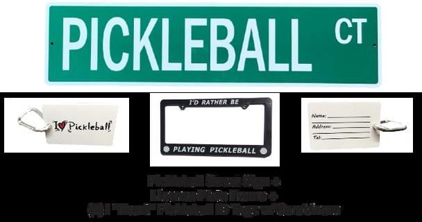 "Pickleball Marketplace - ""Road Warrior"" Bundle - Custom Street Sign & License Plate Frame & (2) ID Tags"