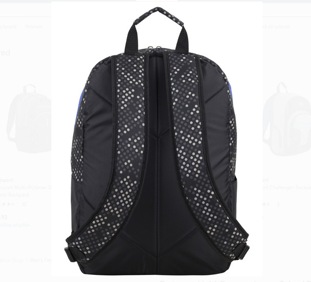 """Eastport """"Multi-Purpose"""" Backpack - Amazing Storage - Will hold multiple Pickleball paddles and sports gear. Navy & Royal Blue Dots"""