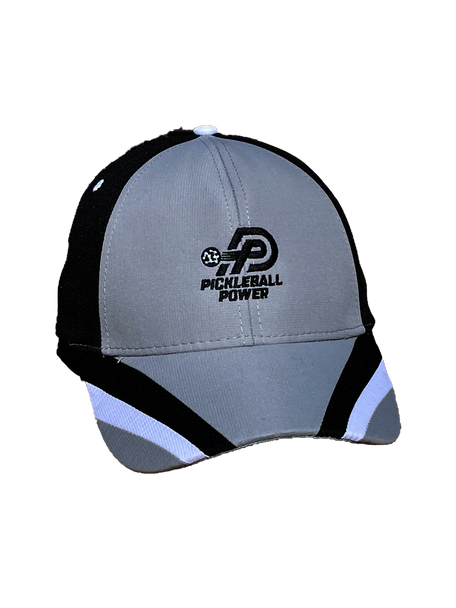 Moisture Wicking & UV Coated Pearl Nylon | Performance Mesh/Light Weight Brushed Cotton Twill Pickleball Cap - Grey/Black/White