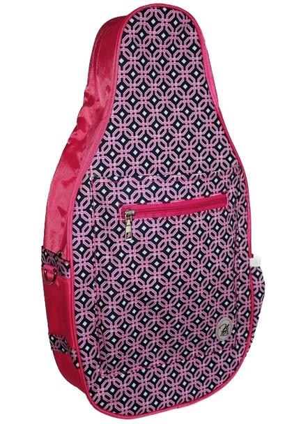 Ladies Printed Pickleball Sling Bag - Sydney (Pink & Navy Dot) - New | Designed Expressly for Pickleball