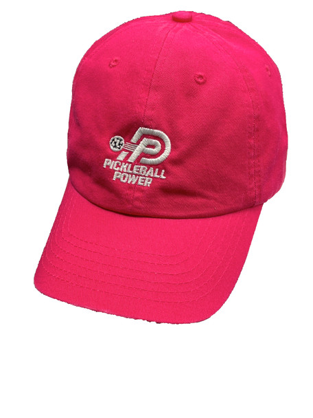 Durable Laundered Chino Twill Pickleball Cap - Embroidered/Adjustable - Fuchsia
