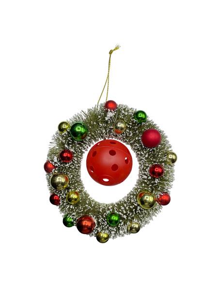 Classic Flocked Christmas Wreath Ornament w/ Miniature Pickleball - PICKLEBALL MARKETPLACE Active