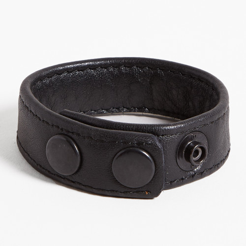 3-snap Wide Leather Cockring