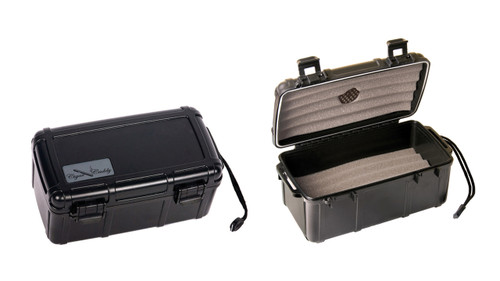 15 Ct. (Black) Plastic Travel Humidor Water & Crush Resistant  Rugged Structure Water & Crush Resistant 3 Protective Foam Cigar Bed Snap Tight Locking Clips Carrying Handle Humidifier