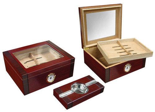 50 Ct. 2-Tone Cherry & Rosewood Humidor Set w/ Ashtray  Rosewood Humidor and Ashtray Set 2 Tone Finish Beveled Glass Top Removable Tray 2 Adjustable Dividers Spanish Cedar Lined External Hygrometer Humidifier