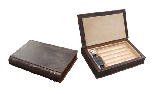 Brown Leather Book Style Travel Gift Set The Perfect Hiding Spot for any Book Shelf Removable Cigar Tray for Extra Storage Humidifier and Silver Hygrometer Set Magnetic Lid Closure Guillotine Cutter