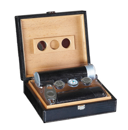 Black 25 Ct. Leather Gift Set w/ Matching Accessories  Brown Gator Motif Leather Cedar Lined Guillotine Cutter 5 Cigar Humi-Tube 2 Cigar Leather Case Spanish Cedar Lined 2 Humidifiers & Hygrometer