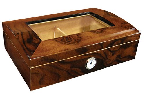 40 Ct Walnut Burl Gloss Finish w/Arc Top & Beveled Glass  High Gloss Walnut Burl Finish Dome Shaped Top Beveled Glass Two Silver Humidifiers Spanish Cedar Lined Adjustable Divider External Silver Framed Hygrometer