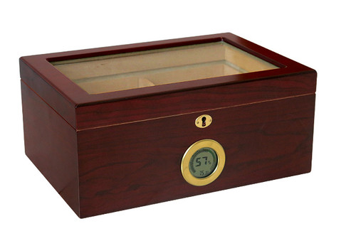 100 Ct. Humidor w/ Glass Top & External Digital Hygrometer  Glass Top Gold External Digital Hygrometer Displays Humidity & Temperature Humidifier Internal Locking Hinges Removable Tray 2 Adjustable Dividers Spanish Cedar Lined Lock & Key Set