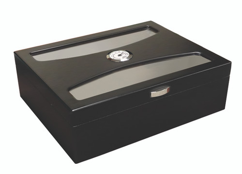 100 Ct. Black Humidor with UV Glass  Rich Black Finish Arc Style Glass Top UV Reflective Glass Internal Locking Hinges Polished Silver Pull 2 Silver Humidifiers Adjustable Divider Spanish Cedar Lined Silver Hardware External Hygrometer