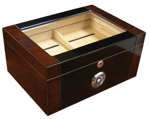 100 Ct. 2-Tone High Gloss Glass Top & External Black Hygrometer  Two Tone Dark Mahogany & Black Lacquer Finish See Through Glass Top Polished Silver Hardware Black Face External Hygrometer Humidifier Internal Locking Hinges Removable Tray 2 Adjustable Dividers Spanish Cedar Lined Lock & Key Set