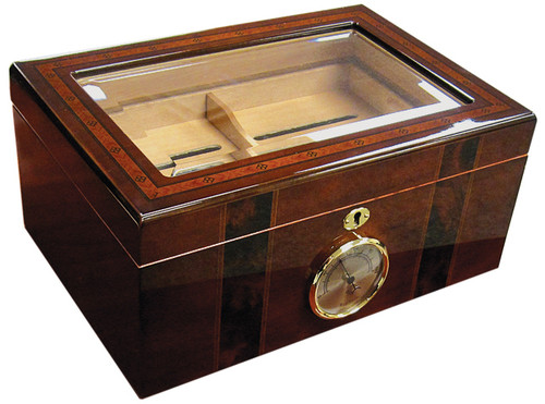 100 Count Beveled Glass Top Humidor w/ External Hygromete  High Gloss Finish Beveled Glass Top w/ Border Inlay Spanish Cedar Lined Removable Tray Two Adjustable Dividers Internal Locking Hinges Humidifier & Hygrometer Lock & Key Set