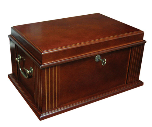50 Count Antique Cigar Humidor  French Antique Walnut Finish Spanish Cedar Lined Removable Tray 2 Adjustable Dividers Internal Locking Hinges Humidifier & Hygrometer Lock & Key Set