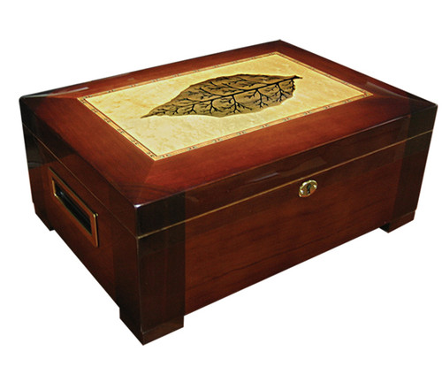 150 Ct. High Gloss Humidor w/ Tray & Tobacco Leaf Inlay  High Gloss Dark Burl Wood Finish w/Tobacco Leaf Inlay Dome Shaped Top Side Handles Removable Tray 2 Adjustable Dividers Humidifier & Hygrometer Lock & Key Set