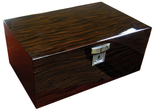 130 Ct. Lacquer Ebony Finish w/Tray & Polished Hardware  High Gloss Ebony Finish Chrome Plated Pull Removable Tray Polished Silver Humidifier & Hygrometer Silver Lock & Key 2 Adjustable Dividers Invisible Steel Lining Inside Lid Allows Humidifier & Hygrometer to Attach Magnetically