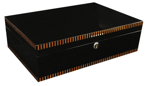 120 Ct. Black Lacquer Finish w/ Tray & Polished Hardware  Deep Black Lacquer Finish Linear Inlay Design Spanish Cedar Lined 2 Adjustable Dividers Lock & Key Set High Polished Silver Humidifier & Hygrometer Lining Inside Lid Allows Humidifier & Hygrometer to Attach Magnetically