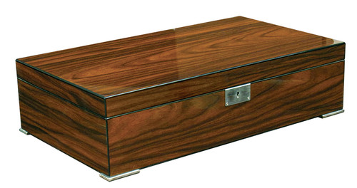 High Gloss Brazilian Rosewood Finish Set on 4 Polished Silver Feet Dual Removable Trays 3 Adjustable Dividers 2 Polished Silver Humidifiers Silver Framed Digital Hygrometer Invisible Steel Lining Inside Lid Allows Humidifier & Hygrometer to Attach Magnetically Lock & Key Set