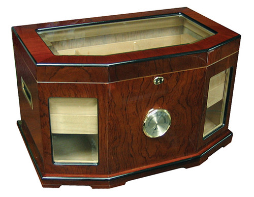 300 Ct. High Gloss Lacquer Humidor w/ Beveled Glass  High Gloss Mahogany Finish Beveled Glass Spanish Cedar Lined Side Handles 2 Removable Trays 6 Adjustable Dividers External Hygrometer & 2 Humidifiers Lock & Key Set