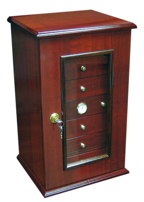 150 Ct. Gloss Cherry Humidor w/ 7 Drawers, Door & Lock  Cherry Lacquer Finish Swing Door w/ 7 Pull Out Drawers Built-In Hygromter 7 Adjustable Dividers 7 Humidifiers Spanish Cedar Lined Lock & Key Set