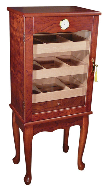 600 Ct. Bronze Mahogany Finish w/ Glass Door on Legs  Bronze Mahogany Finish Full Length Glass Door Spanish Cedar Lined 3 Removable Trays 6 Adjustable Dividers Pull Out Drawerer 3 Humidifiers External Mount Hygrometer Lock & Key Set