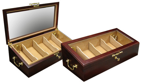 125 Count Cigar Countertop Display Humidor  Cherry Countertop Display Glass Top Angled Storage for Improved Viewing Spanish Cedar Lined Gold Side Handles and Pull 4 Adjustable Dividers 2 Humidifiers Hygrometer Lock & Key
