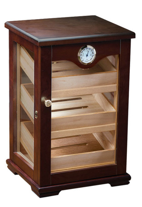 125 Count Cigar Countertop Display Humidor w/ Trays  Dark Mahogany Countertop Display 3 Angled Spanish Cedar Trays 3 Adjustable Dividers 4 Glass Sides for 360 Degree Viewing External Hygrometer Humidifier Lock & Key